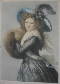 Young Woman, Three-Quarter Length, in blue dress and hat with feather, her hands in a muff.