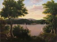 [Lake View with Sailboats and Houses on the Shore]