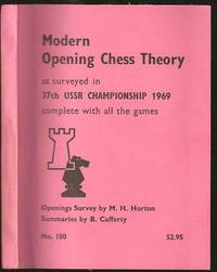 image of Modern Opening Chess Theory as surveyed in 37th USSR Championship 1969