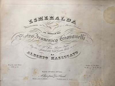 Milano: Gio. Ricordi , 1850. Oblong folio. Original publisher's green printed wrappers with series t...