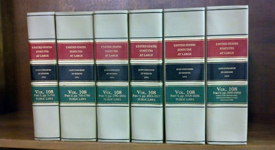 1995. . United States Statutes at Large. Volume 108 (6 bound volumes) 1994. 103d Congress 2d Session...
