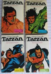 "Flamingo Books ""Tarzan"" series:  book (1) one ""Tarzan of the Apes"", book (2) two ""The Return of Tarzan"", book (3) three ""The Beasts of Tarzan"", book (4) four ""The Son of Tarzan""  - complete set of Flamingo Books E R Burroughs - ""Tarzan Series"""