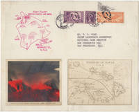 SOUVENIR OF THE ERUPTION OF KILAEUA VOLCANO FROM THE HAWAII NATIONAL PARK'S OFFICIAL PHOTOGRAPHER; Souvenir of the first airmail flight from Hilo, Hawaii to the U.S. mainland featuring a vibrant color photograph of the Kilauea Volcano which had erupted a month before