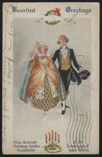 CHRISTMAS POSTCARD WITH COLONIAL COUPLE