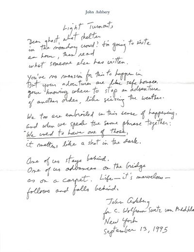 New York, 1995. Original manuscript (ALS) of single poem, signed and dated by Ashbery, in original m...