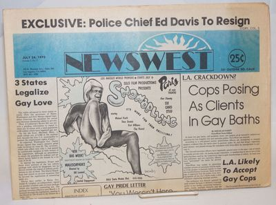 Los Angeles: NewsWest, 1975. Newspaper. 20p., folded tabloid newspaper, ads, services, reviews, news...