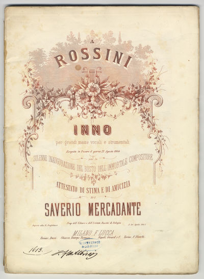 Milano: F. Lucca , 1865. Folio. Original publisher's dark ivory printed wrappers. 1f. (decorative ti...