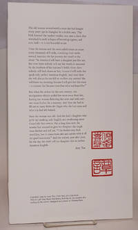 image of Excerpted passage from The Joy Luck Club; broadside