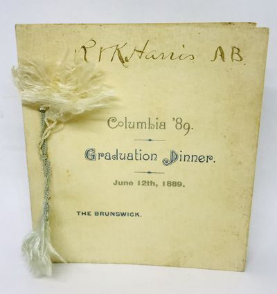 New York, 1889. Cards. Silver printed folded, textured card with blue and white tassels. Very good. ...