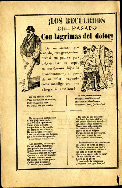 Mexico: A. V. Arroyo, 1906. Unbound. Very Good Condition. Broadside ballad with two illustrations - ...
