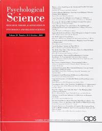image of Psychological Science (Volume 20, Number 10, October 2009)