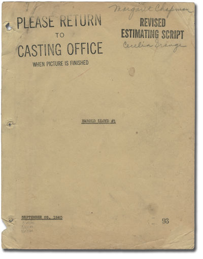 Culver City, CA: RKO Radio Pictures, 1940. Revised Estimating script for the 1941 film, here under t...