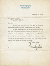 TYPED LETTER SIGNED BY DISTINGUISHED EDUCATOR AND PRESIDENT OF COLUMBIA UNIVERSITY NICHOLAS MURRAY BUTLER.