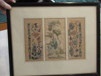 Three Groups Of Antique Chinese Silk And Gold-Wrapped Yarn Embroideries