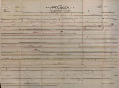 U. S. Pacific Railroad Exploration & Survey, War Department. Map. Lithograph with original hand colo...