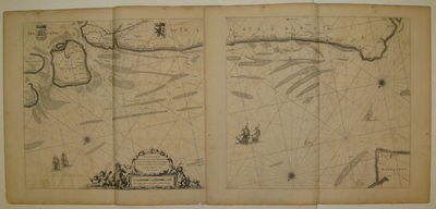 1669. unbound. very good. Sea chart (diptych). Uncolored copperplate engraving. Each image measures ...