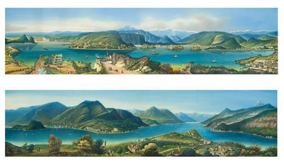 Italy, 1850. Pair of views, gouache over faint etched line, black gouache border. Period gilt and fa...