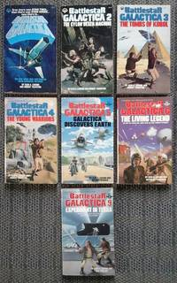 image of BATTLESTAR GALACTICA 1, 2, 3, 4, 5, 6, 9.  1. BATTLESTAR GALACTICA / 2. THE CYLON DEATH MACHINE / 3. THE TOMBS OF KOBOL / 4. THE YOUNG WARRIORS / 5. GALACTICA DISCOVERS EARTH / 6. THE LIVING LEGEND / 9. EXPERIMENT IN TERRA.  7 VOLUMES.