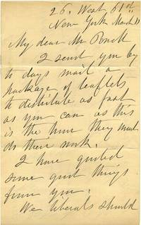 Letter handwritten and signed by Elizabeth Cady Stanton.