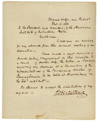1831 Autograph Letter Signed by Roberts Vaux, Pennsylvania Abolitionist, Reformer of Education and Prisons, and Jurist by Roberts Vaux (1786-1836) - from Ian Brabner, Rare Americana, ABAA (SKU: 3726062)