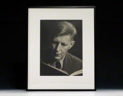 1946. Signed. JACOBI, Lotte. Photograph signed. W.H. Auden. New York, circa 1946. Vintage gelatin si...