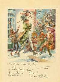 Three full color Christmas cards designed by Everett Shinn, with signature on one and signed inscriptions on the others