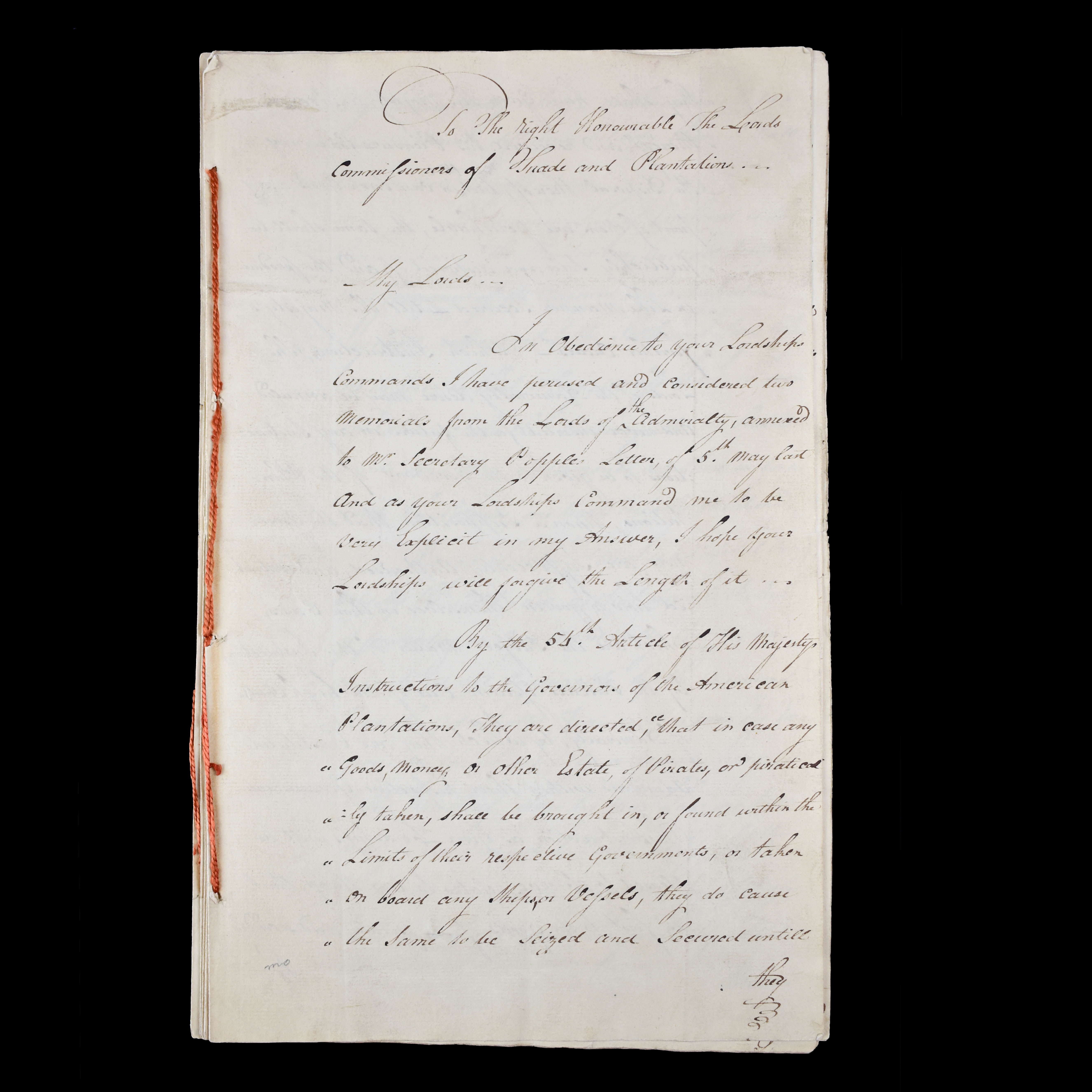An Important Document Addressed To Lords of the Admiralty and Governors of the American Plantations  Concerning The Confiscation of Pirate Goods and Establishing an Act that will allow Pirates to be Tried and Punished by Courts in the Colonies and Provinces. (photo 3)