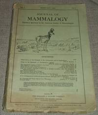 image of Journal of Mammalogy  for February 1926