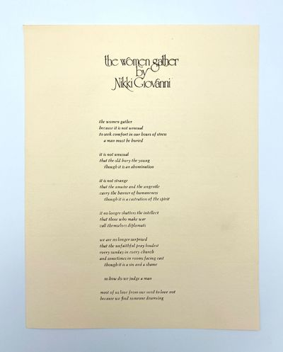 N.p.: no publisher, 1975. 11 x 8.5 inches. Printed on both sides, laid paper. The poem is from Giova...