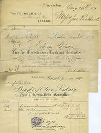 image of Bookseller invoices from London and Bristol, with franked envelopes