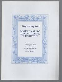 Catalogue 208: Performing Arts, Books on Music, Dance, Theatre, & Festivities.