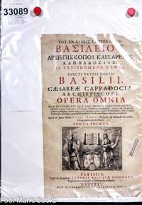 SANCTI PATRIS NOSTRI BASILLI CAESAREAE CAPPADOCIAE ARCHIEP PISCOPI OPERA  OMNIA [FOLIO ENGRAVED GREEK TITLE LEAF 1721]