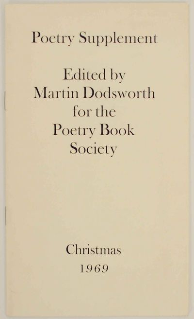 London: Poetry Book Society, 1969. First edition. Softcover. 12 pages. Includes poems by Barry Cole,...