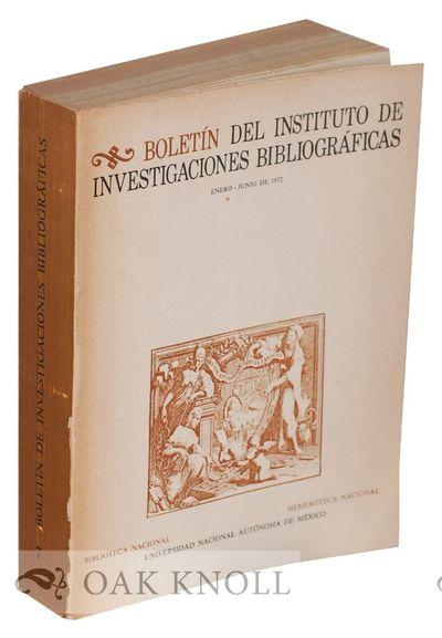(Mexico City, Mexico): Biblioteca Nacional, Universidad Nacional Autónoma de México, 1972. stiff p...