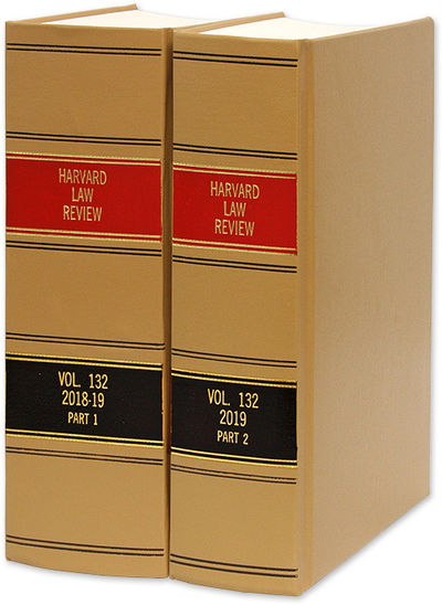 2019. Harvard Law Review. Cambridge, Mass.: Harvard Law Review Association, 2018-2019. Vol. 132 (201...