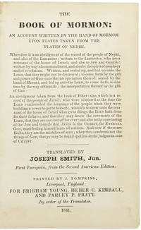 The Book of Mormon ... translated by Joseph Smith, Jun. First European, from the Second American Edition