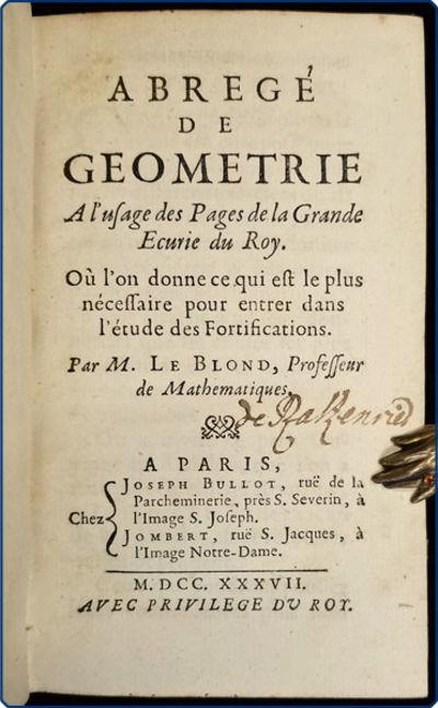 Paris: Joseph Bullot & Jombert, 1737. 12mo (16.9 cm, 6.7