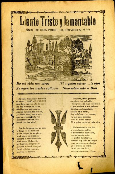 Mexico: A. V. Arroyo, 1912. Unbound. Very Good Condition. Broadside corrido, worming in lower margin...