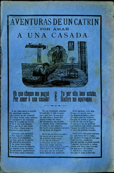 Mexico: A. V. Arroyo, 1900. Unbound. Very Good Condition. Broadside ballad with two illustrations - ...