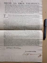[Broadside] Las grandes ventajas y utilidades que prepara a los Habitantes de este Reyno la libre fabrica y uso del Aguardiente de Cana concedido por Real Orden...