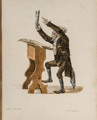 Paris: Publiée par Engelmann & Cie., 1827. Twelve Exceptionally Rare and Satirical Hand Colored Lit...
