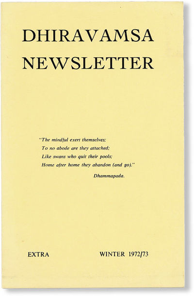 , 1972. First Edition. Octavo (21.5cm.); publisher's yellow printed staplebound card wrappers; pp. L...