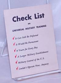 image of Check List on Universal Military Training
