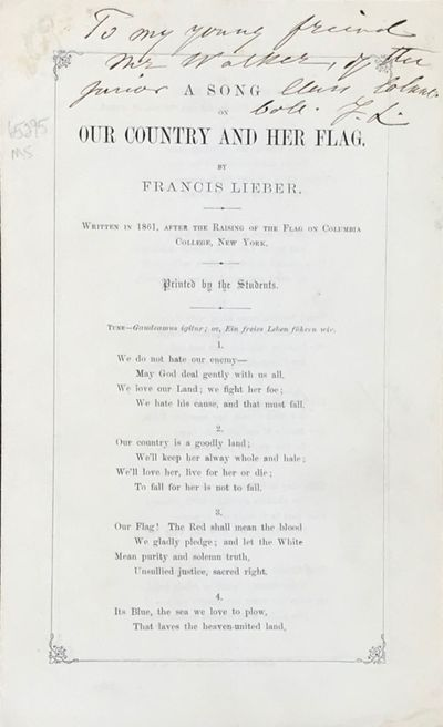 leaves. 2 pp. of text, . Inscribed in ink by Lieber to a member of the junior class at Columbia, wi...