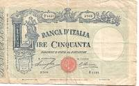 image of Italy 50 Lire Banknote (22 April 1930) Pick #  GOOD Condition