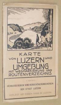 Karte von Luzern und Umgebung mit wegmarkierung und routenverzeichnis. 1:25000