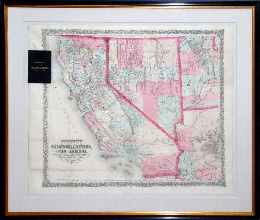 Map of california nevada utah and arizona by a l for California chiude l utah