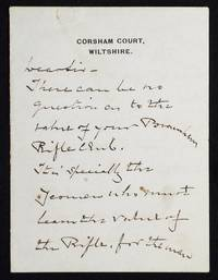 image of Autograph letter signed about the Burnham Rifle Club