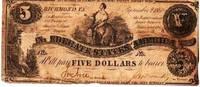CONFEDERATE FIVE DOLLAR BILL,  September 2, 1861
