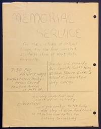 image of Memorial Service for the victims of Fedral Troops; for the four innocent students slain at Kent State University... Senator Ted Kennedy, Mrs. Coretta Scott King, Wiliam Sloane Coffin Jr, Allard K. Lowenstein, Judy Collins... [handbill announcing a service at New York Avenue Presbyterian Church in Washington DC, with announcement on the other side of a rally for students from Montgomery County, Maryland at Springbrook High School]